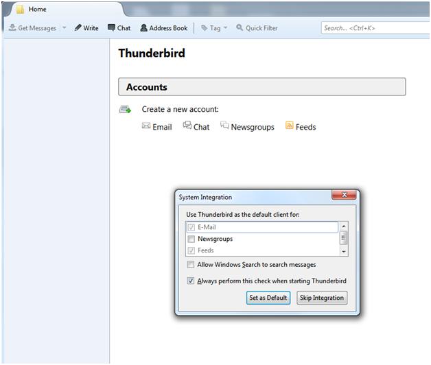 Thunderbird first screen